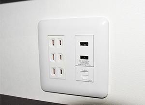 電源、USB、LAN